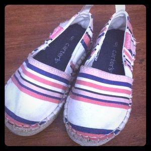 Carters toddler size 6 striped slip on shoes